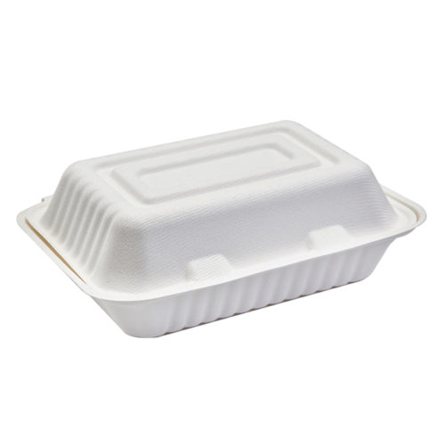 Burger box rectangular blanco de caña de azúcar 1000 ml
