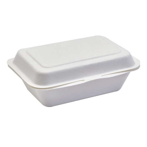 Burger box rectangular blanco de caña de azúcar 1000 ml con dos compartimentos