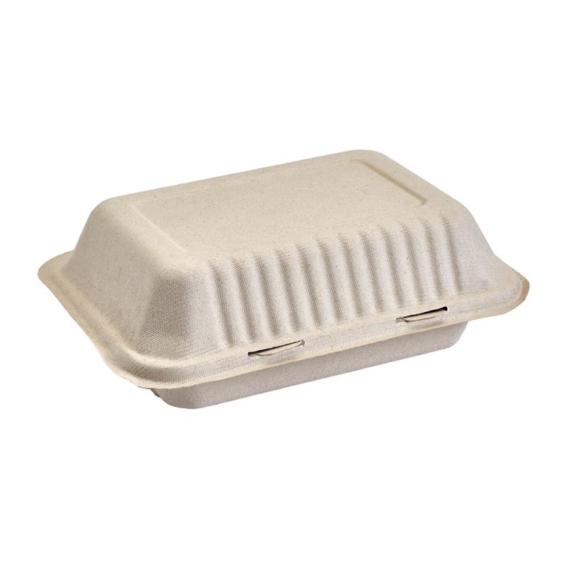 Burger box rectangular color natural de caña de azúcar 1000 ml