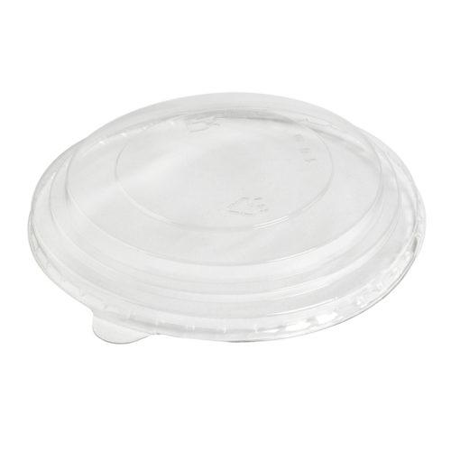 Tapa alta rPET para ensaladera redonda blanca/kraft 1300 ml