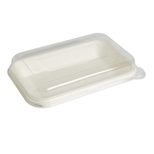 Tapa baja Pet 18,8 x 12,8 x 0,9 cm para envase recipiente bionic 350-425 ml